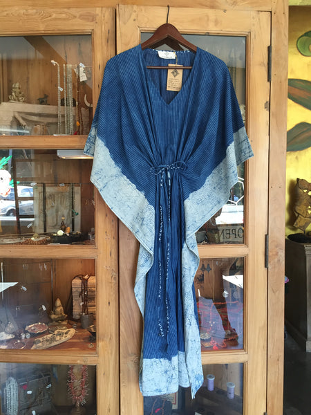 Indigo Mud Resist Indian Kaftan with Drawstring Waist