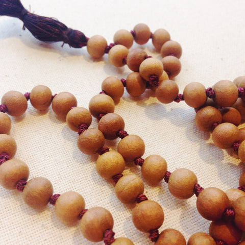 Sandalwood Mala Bead Necklace - bead, beads, Buddha, buddhism, buddhist, day, Devotional, fathers, free shipping, gift, gifts, handmade, hindi, hindu, India, Indian, jewelry, Mala, Mala Beads, malas, mother's, necklaces, prayer, rosary, sacred
