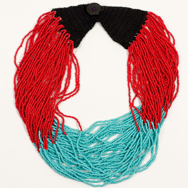 Fair Trade Pueblo Itza Necklace - cotton, crocheted, fair-trade, glass beads, handmade, jewelry, necklace, necklaces
