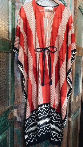 Red Block Printed Indian Kaftan with Drawstring Waist - Shirts & Tunics - Shop Nectar - 1