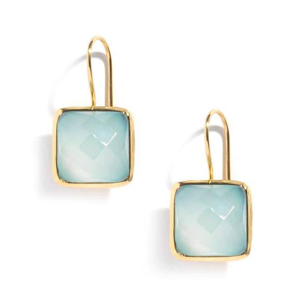 Roost Tiny Square Facet Chalcedony Earrings - drop-earrings, earrings, gold, Gold Vermeil, jewelry, chalcedony, Roost