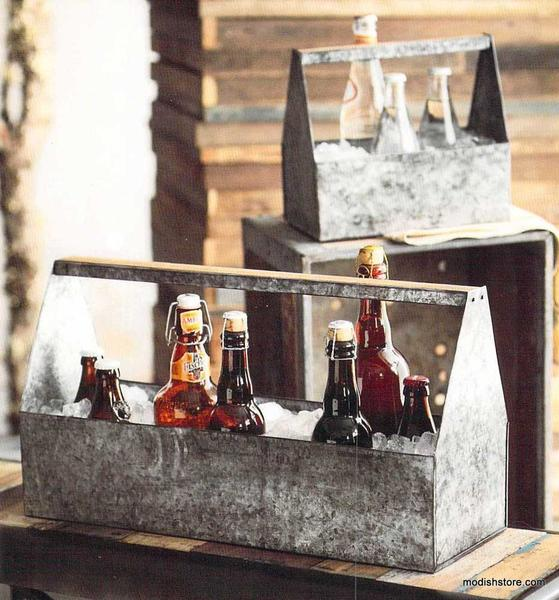Roost Thirst Ice Caddies - anniversary gift, antique finish, beer caddy, beer carrier, beverage caddy, birthday, caddies, caddy, day, galvanized iron, Gift, gift for him, gifts, gifts-for-her, gifts-for-him, gifts-for-the-couple, ice caddy, manly gifts, mens gifts, new-arrivals-in-gifts-indulgences, new-arrivals-in-kitchen-dining, Roost, Roost Thirst Ice Caddies, rustic, Table, tabletop, wooden accents