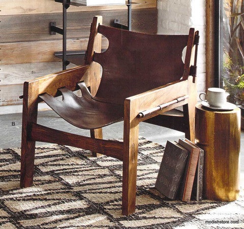 Roost Paolo Leather Sling Chair - Accent Chairs - Shop Nectar