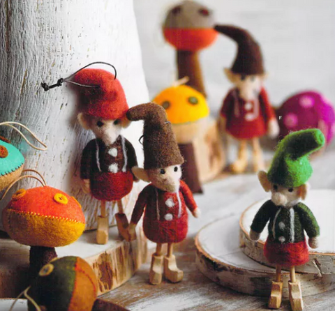 Roost wooly elf elves felt felted adorable unique ornaments