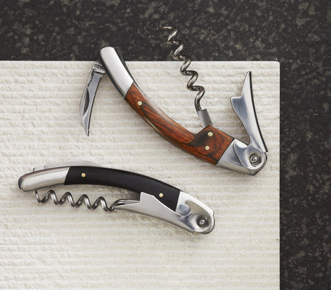 Roost Wooden Handled Corkscrews - assorted-styles, bartender, barware, bottle opener, corkscrew, ebony, gift for him, kitchen-dining, mens, Roost, Rosewood, server, Stainless Steel, waiter, wood