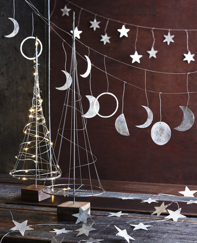 Roost Phases of the Moon Garland - assorted-styles, brass, christmas, decor, garland, hand cut, handmade, holiday-decor, iron, Moon, ornament, phases of the moon, room-decor, silver