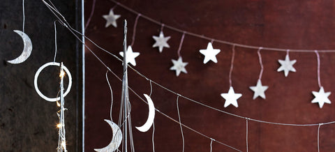 Roost Silver Star Garland - christmas, decor, decorative, garland, holiday-decor, kids, metal, room-decor, rustic, silver, star