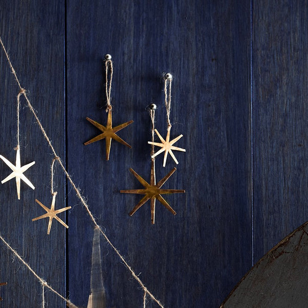 Roost Starburst Brass Ornaments - brass, Children's Decor, christmas, decor, hanging-ornaments, Holiday, holiday-decor, ornament, Roost, star, star gazing, Starburst
