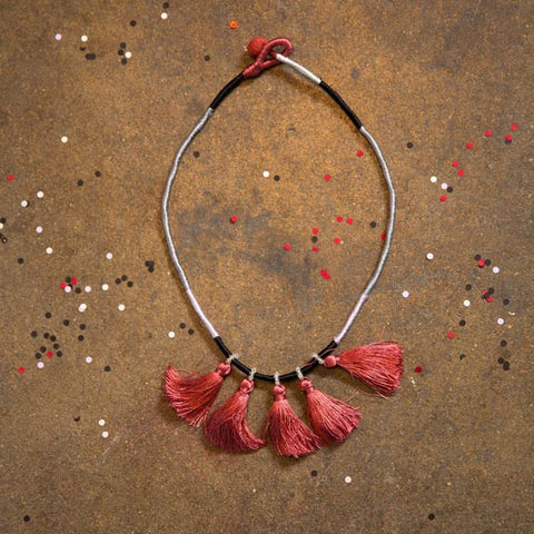 Indian Deco Tassel Autumn Berry Necklace - art silk, berry, fair-trade, handmade, jewelry, Necklace, necklaces, tassel