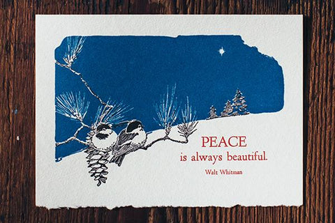 "Saturn Press ""Beautiful Peace"" Letterpress Card - american-made, assorted-styles, best wishes card, Card, cards, cards-stationary, cards-stationery, Eco, eco-friendly, Gift, gifts, gifts-for-her, gifts-for-him, gifts-for-the-couple, Greeting Card, Handcrafted, handmade, holiday card, letterpress, recycled, recycled paper, stationary, Sustainable"