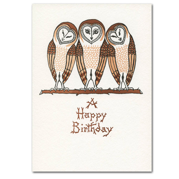 "Saturn Press ""Three Owls"" Letterpress Card - american-made, assorted-styles, birthday, Birthday Card, Card, cards, cards-stationary, cards-stationery, Eco, eco-friendly, Gift, gifts, gifts-for-her, gifts-for-him, gifts-for-the-couple, greeting, Greeting Card, greetings, handmade, happy birthaday card, Happy Birthday, recycled, recycled paper, stationary, Sustainable, sustainably sourced"