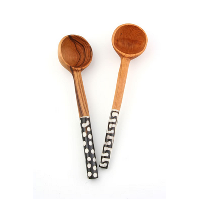Fair Trade Batik Bone Inlay Coffee Scoop - africa, african, Batik, bone, Coffee, coffee-teaware, Cow Bone, eco, eco-friendly, fair-trade, flatware-utensils, handmade, Housewarming Present, Inlay, Kenya, kitchen-dining, Olive Wood, Scoop, spoons-scoops, Sustainable, sustainably, sustainably harvested, Swahili African Modern, tabletop-dinnerware