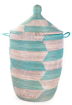 Turquoise & White Fair Trade Geometric African Hamper - africa, African, assorted-styles, Basket, bathroom, decor, eco, fair-trade, hampers, handmade, organizing-storage, patterned, recycled, storage, sustainable, sustainably harvested
