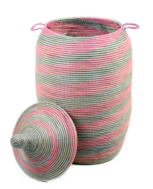 Silver & Pink Fair Trade African Hamper - africa, African, Basket, bathroom, decor, eco, fair-trade, hampers, handmade, kids-bins, organizing-storage, patterned, recycled, storage, sustainable, sustainably harvested