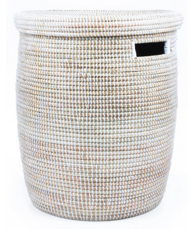 White Fair Trade Sahara Hamper - africa, African, Basket, bathroom, decor, eco, fair-trade, hampers, handmade, organizing-storage, patterned, recycled, storage, sustainable, sustainably harvested