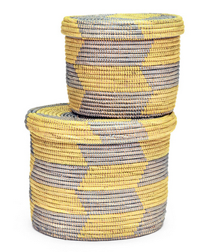 Set Of Two Yellow & Silver Fair Trade Lidded Baskets - africa, African, Basket, baskets, bathroom, decor, eco, fair-trade, handmade, kids-bins, organizing-storage, patterned, recycled, storage, sustainable, sustainably harvested