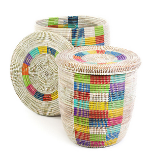 Set Of Two Colorful Checkered Fair Trade Hampers - africa, African, Basket, bathroom, decor, eco, fair-trade, hampers, handmade, kids-bins, organizing-storage, patterned, recycled, storage, sustainable, sustainably harvested