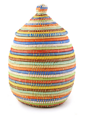 Rainbow Striped Fair Trade Lidded Gourd Basket - africa, African, baskets, bathroom, decor, eco, fair-trade, handmade, kids-bins, organizing-storage, patterned, recycled, storage, sustainable, sustainably harvested