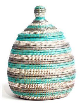 Turquoise & Silver Striped Fair Trade Lidded Gourd Baskets - africa, African, baskets, bathroom, decor, eco, fair-trade, handmade, organizing-storage, patterned, recycled, storage, sustainable, sustainably harvested