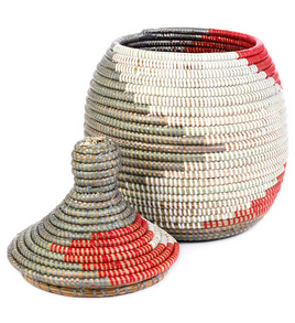 Red & Silver Striped Fair Trade Lidded Gourd Basket - Baskets - Shop Nectar - 1