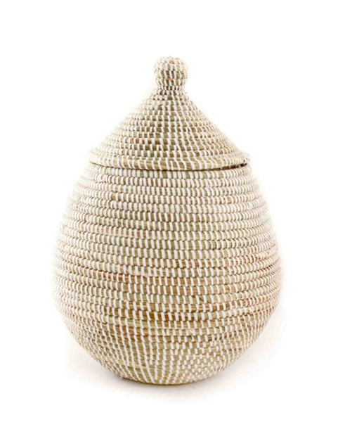 White Fair Trade Lidded Gourd Basket - africa, african, Basket, baskets, bathroom, decor, Eco, fair-trade, handmade, organizing-storage, recycled, storage, sustainably harvested, sustainably sourced