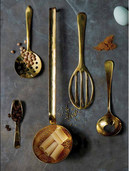 Sir Madam Brass Cooking and Serving Utensils - assorted-styles, brass, Cooking, eggs, flatware-utensils, kitchen accessories, kitchen-dining, serveware, serving-utensils, Sir Madam, Spice, spoon, Spoons, tabletop-dinnerware-1