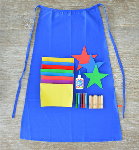 Design Your Own Blue Superhero Cape Crafting Kit - activity-kits, assorted-styles, cape, child, children, Children's Activity, color, color pencils, coloring, craft, crafting, crafting kit, crate, creativity, DIY, eco-friendly, fabric, fun, game, hero, kids, kit, kits, learn, learning, mask, pencil, pencils, Seedling, seedling usa, star, stars, super, superhero, tissue paper, toy, toys-games