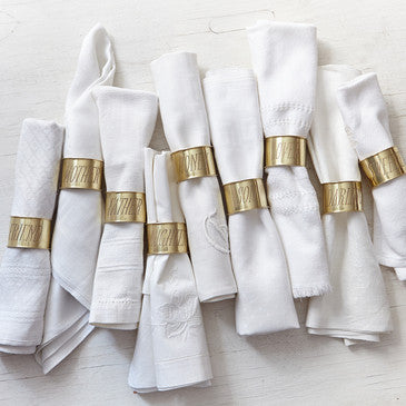 Sir Madam Endearment Napkin Rings - assorted-styles, brass, Dinnerware, Friend, Honey, kitchen-dining, napkin-holders, Sir Madam, tabletop-dinnerware-1
