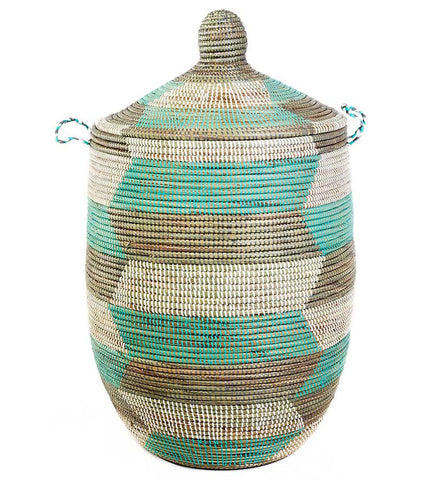 Silver & Turquoise Fair Trade African Hamper - africa, African, assorted-styles, Basket, bathroom, decor, Earth Tones, eco, fair-trade, hampers, handmade, kids-bins, organizing-storage, Patterned, recycled, storage, sustainable, sustainably harvested, Turquoise