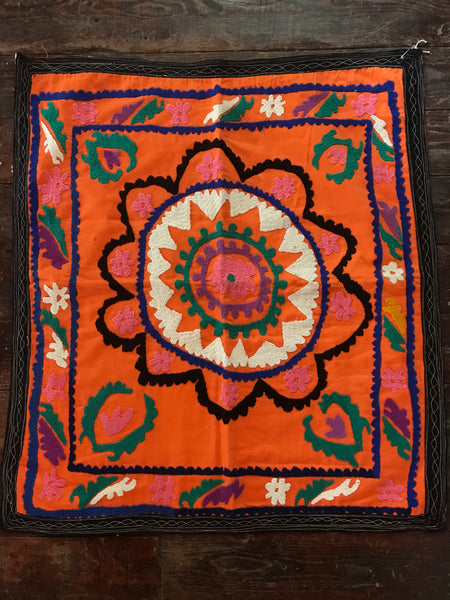 Vintage Square Silk Embroidered Wall Art from India antique, handmade, handcrafted, pattern, flower, mandala, Indian, Indian decor .JPG