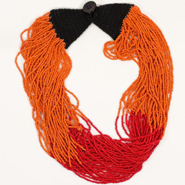 Volcano Red and Orange Itza Necklace - cotton, crocheted, fair-trade, glass beads, hand, handmade, jewelry, necklaces, red