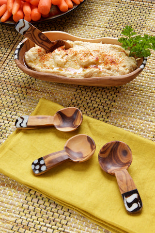 Set of 4 Medium Wild Olive Wood Spice Spoons - coffee-teaware, flatware-utensils, kitchen-dining, spoons-scoops