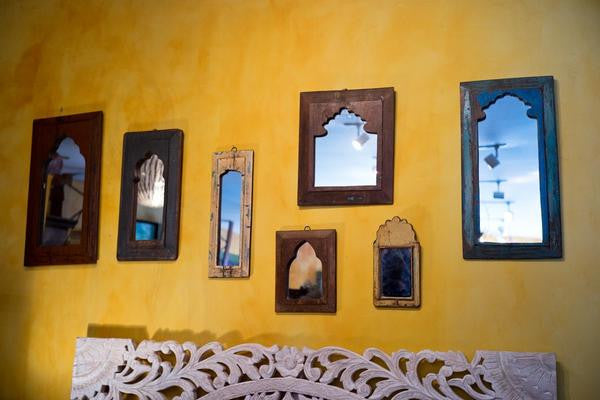 Rustic Indian Mirror - Hand Carved - reclaimed Wood - Imported - Shop Nectar