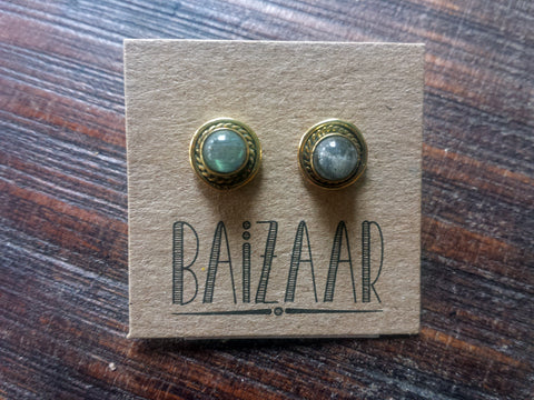 Baizaar Fair Trade Brass Stone Stud Earrings - accessories, baizar, bohemian-chic, Boho Chic, earring, ethically sourced, fair, fair-trade, fair-trade jewelry, fairtrade, Gift, gifts, gifts-for-her, gifts-for-the-bridesmaids, handmade, jewelry, new-arrivals-in-jewelry, precious stone, stone, stone earrings, stone jewelry, stones, stud earring, stud earrings