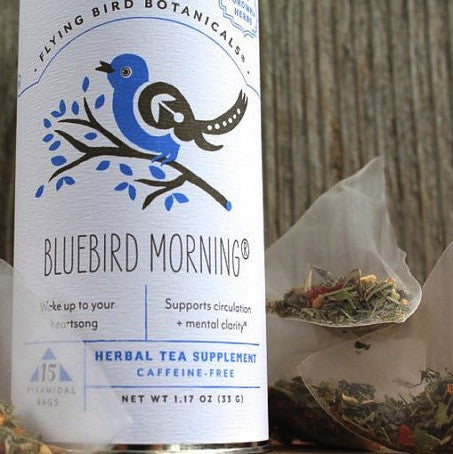 Flying Bird Botanicals Bluebird Morning Tea - american-made, assorted-styles, bag, bagged-tea, bags, Biodegradable, Bouquet of Flowers, Cinnamon, coffee-teaware, Compostable, day, days, dining, fair-trade, father, fathers, flower, Flying Bird Botanicals, for her, for him, gift, gift for, Gift Tins, gifts, gifts for kids, Ginger, ginkgo, Ginko, gotu kola, Hawthorne, herbal, Holiday, holidays, home, kitchen, kitchen-dining, Lemon Grass, mothers, mothers-day-gifts