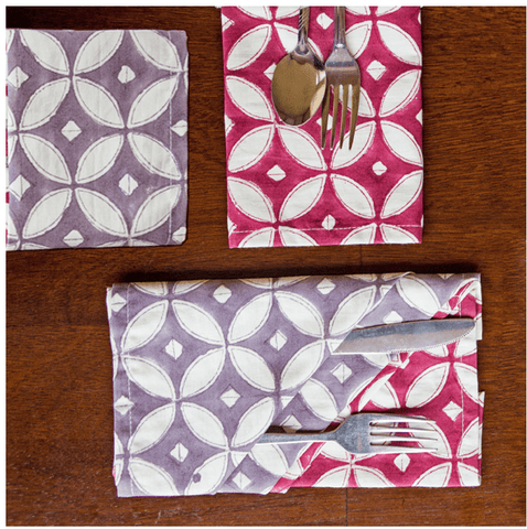 Fair Trade Two Tone Napkins - assorted-styles, Compostable, fair-trade, funds community development, handmade, kitchen-dining, napkins, Sustainable, table-linens, tabletop-dinnerware-1