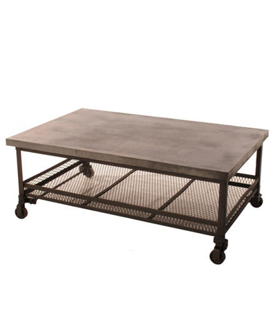 Mercantile Coffee Table with Casters - coffee-end-tables, coffee-tables, furniture, industrial, metal