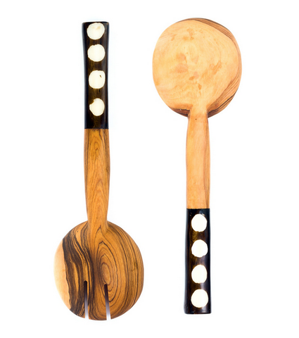 Bold Polka Dot Olive Wood Salad Servers - africa, african, assorted-styles, eco, fair-trade, flatware-utensils, gifts-for-the-host, Hand Carved, handmade, kitchen-dining, new-arrivals-in-kitchen-dining, serveware, serving spoons, serving-utensils, sustainably, sustainably harvested, tabletop-dinnerware-1, wood