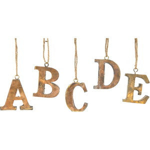 brass, alphabet, ornaments, letters, decor, home decor, holiday
