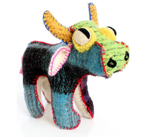 Twoolies Handmade Fair Trade Wool Bull - assorted-styles, Bull, dolls-stuffed-animals, fair-trade, handmade, room-decor, stuffed-animals, Twoolies, Wool