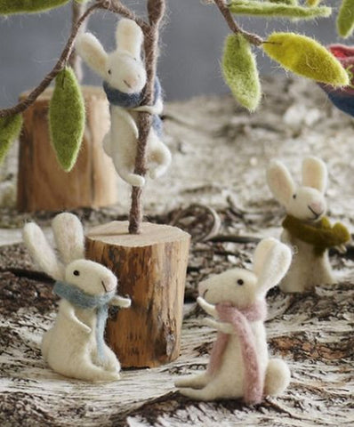 Roost Little Bunny with Scarf Ornament - accessories, accessory, assorted-styles, Bunny, christmas, christmas ornament, christmas ornaments, day, decor, felt ornament, Felted, gift, gifts, hanging-ornaments, holiday-decor, mothers, Rabbit, Roost, scarves, summer