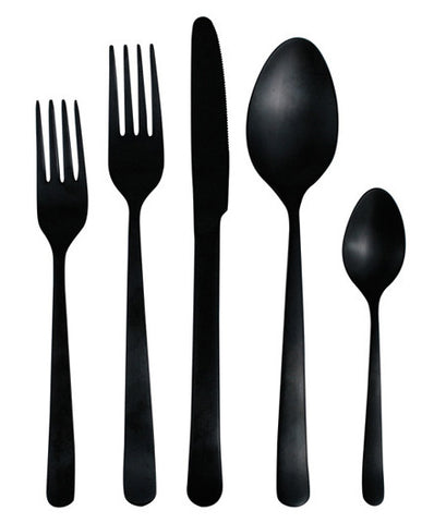 Canvas Home Matte Black Oslo Cutlery Set - Canvas Home, Cutlery, flatware, flatware-utensils, kitchen-dining, Matte Black, Stainless Steel, tabletop-dinnerware, tabletop-dinnerware-1