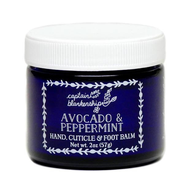 Captain Blankenship Avocado & Peppermint Hand, Cuticle, & Foot Balm - american-made, bath, bath-beauty, beauty, beauty-hair-care, body, body-lotions, Captain Blankenship, care, day, gift, gifts, gifts-for-her, her, Hudson Valley, mothers, organic, shop locally, skin, skincare, soaps-lotions-creams, Upstate NY