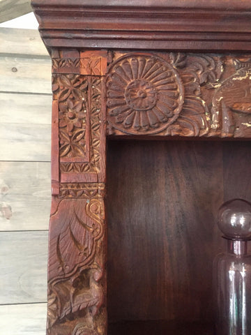 Indian Bookshelf with Ornately Carved Animal Details - bookshelf, bookshelfs, bookshelves, furniture, Handcrafted, handmade, India, one-of-a-kind, Reclaimed, reclaimed-wood, shelves, shelving, wood