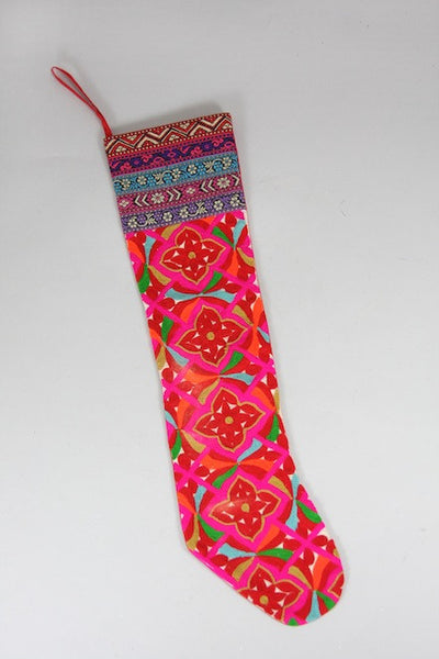 Colorful Folk Christmas Stocking - christmas, cotton, decor, embroidered, holiday-decor, stockings
