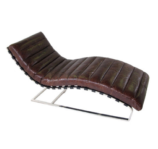 Brown leather chaise lounge shop nectar for Brown chaise longue