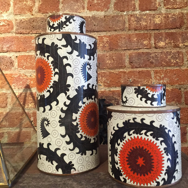 Fabienne Jouvin Paris Cloisonne Lidded Tea Jars - asian, assorted-styles, bath-beauty, bathroom, canisters-jars, cloisonne, coffee-teaware, Ethnic, free shipping, Inlay, jar, kitchen-dining, storage, storage-vanity, tea jar, tea jars