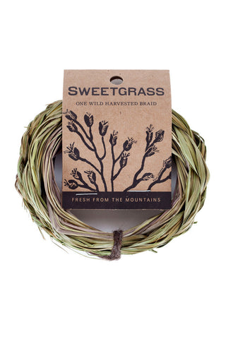 Juniper Ridge Sweetgrass Braid Smudge - american-made, candles-diffusers-incense, decor, incense, Juniper Ridge, organic, statuaries-and-shrines, sweetgrass