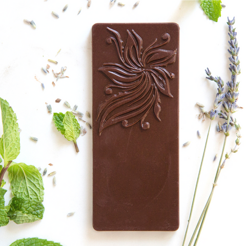 Peppermint Chocolate Bar with Lavender Infusion by Elements Truffles - ayurveda, chocolate, chocolate bar, chocolate bars, chocolates, dairy free, dairy free chocolate, dark chocolate, Eco, edibles, education, elements truffles, ethically sourced, fair-trade, gifts-for-the-host, gifts-for-the-occasion, Hand Crafted, hand made, Lavender, organic, organic chocolate, peppermint, peppermint chocolate, peppermint lavender chocolate, raw, raw chocolate, Sustainable, sustainably harvested
