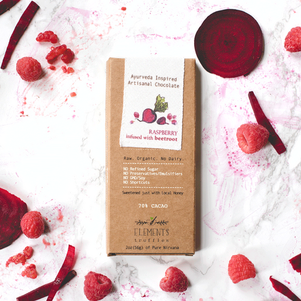 Raspberry Chocolate Bar with Beetroot Infusion by Elements Truffles - ayurveda, beet root, chocolate, chocolate bar, chocolate bars, chocolates, dairy free, dairy free chocolate, dark chocolate, Eco, edibles, education, elements truffles, ethically sourced, fair-trade, gifts-for-the-host, gifts-for-the-occasion, Hand Crafted, hand made, organic, organic chocolate, raspberry, raspberry chocolate, raw, raw chocolate, Sustainable, sustainably harvested, sustainably sourced, sweets-savories